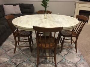 Refinished Solid Wood Table And 4 Chairs