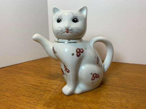 Vintage Kitty Cat Creame/Tea Pot - White Ceramic with Red and Gold Flower Design
