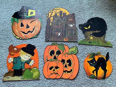 Lot of 6 Vintage Halloween Decorations Hallmark Die Cut Black Cat Pumpkin