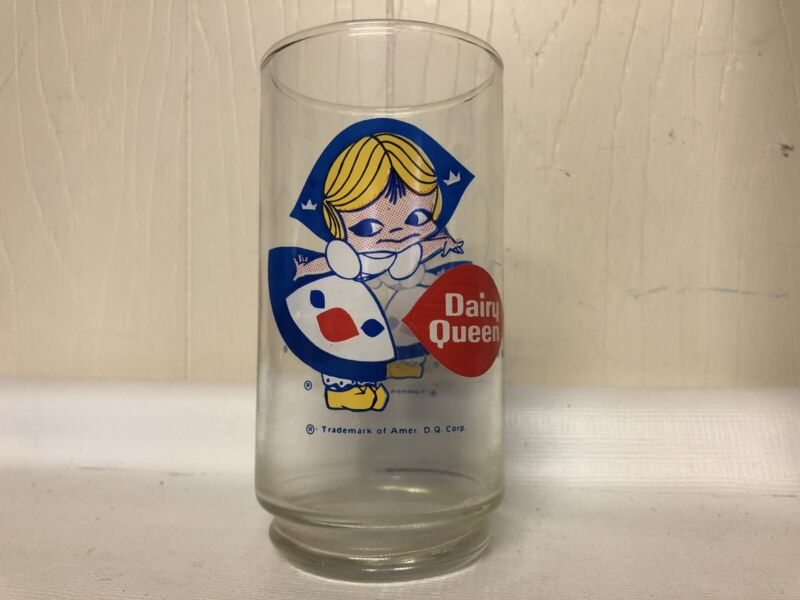Vintage Dairy Queen Corporation Glass Cup DQ Girl Drinking Little Miss Collect