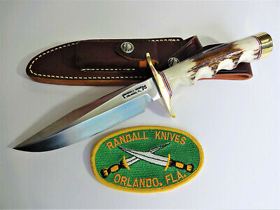 "RANDALL KNIFE Model 1- 6"" SS ALL PURPOSE FIGHTER FG Stag Handle BR Double Hilt"