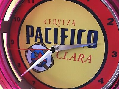 Pacifico Clara Cerveza Beer Bar Advertising Man Cave Neon Wall Clock Sign for sale  Spanish Fork