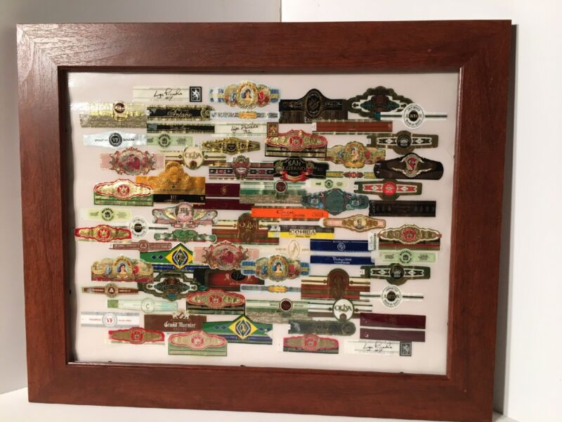 """21.5""""x17.5"""" Paper Cigar Band Art Collage Glass Wood Framed Picture Tobacciano"""