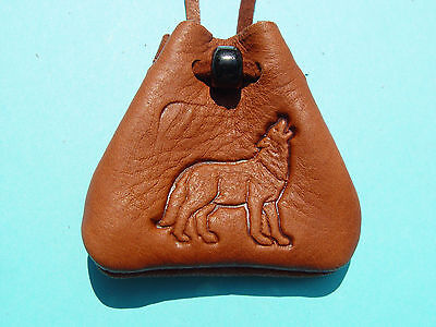 Howling WOLF Medicine Bag Medicine Bag Brown Leather Buckskin Necklace (Wolf Medicine)