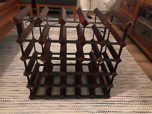 30 bottle wine rack wood & metal