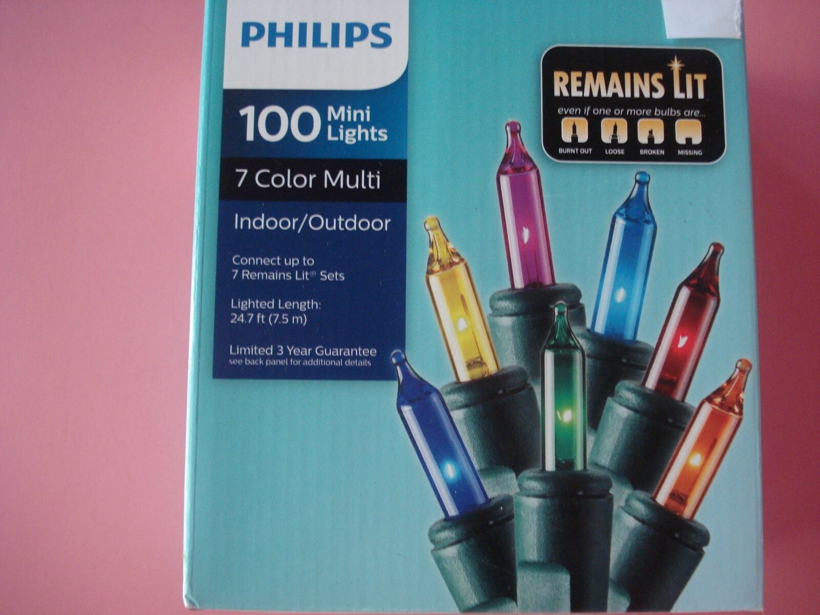 PHILIPS CHRISTMAS MINI STRING LIGHTS REMAINS LIT MULTI COLOR