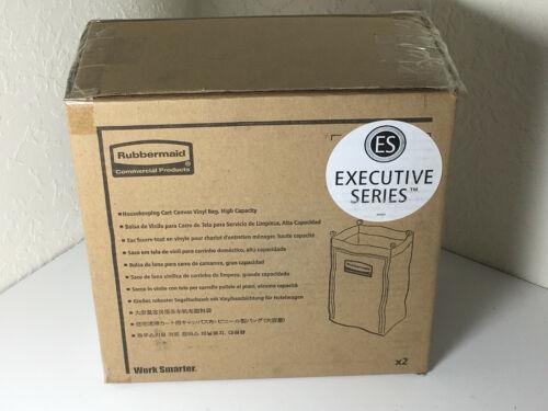 Case Rubbermaid 6187 Heavy-Duty Fabric Cleaning Cart Bag, Black (RCP6187BLA) X2