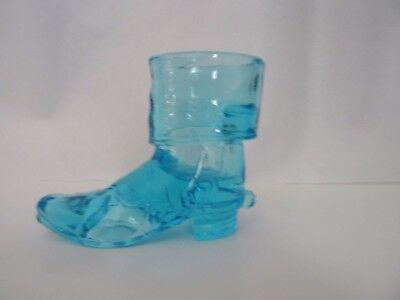 HTF Marked WHEATON Art Glass Aqua BLUE Cowboy BOOT TOOTHPICK HOLDER w/ SPUR