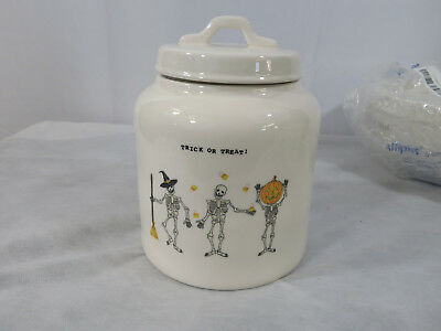 Rae Dunn Trick or Treat Skeleton Halloween Canister Cookie Jar Candy Corn New - Halloween Trick Or Treat