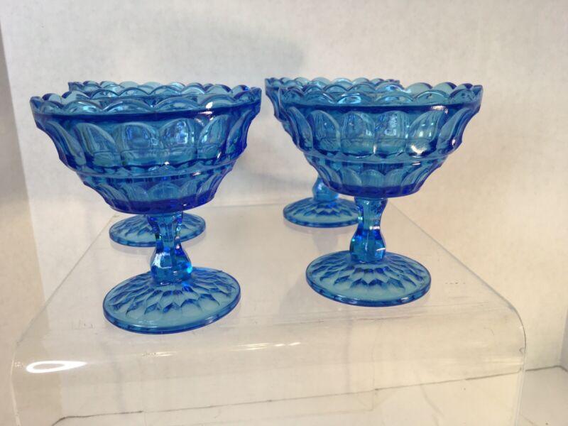"""Vintage Blue 4.5"""" Sherbet Ice Cream Glass Goblet Thumbprint Scalloped Edge"""