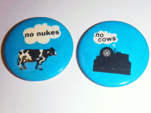 Vintage Unworn No Nukes No Cows Carter Wentworth Pinback Set Anti Nuclear Button