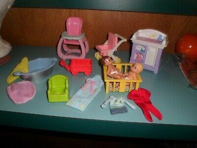 "15 Vtg Mattel + Doll Baby Nursery Furniture Set + 2 DOLLS 3"" +HIGH CHAIR,TUB +"