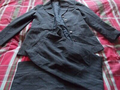 trouser suit womens size 12 black pinstriped new look