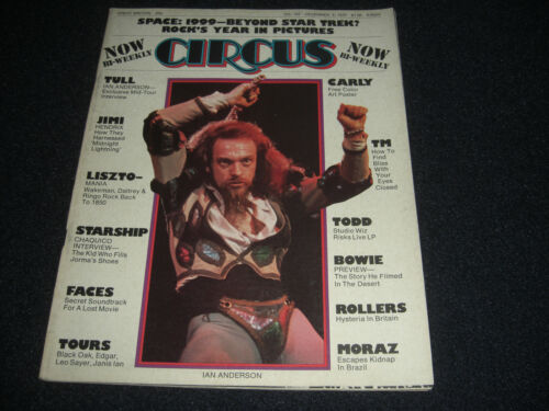 Bowie,  Tull , Hendrix, Tours, Carly Centerfold, 1975 Circus Magazine