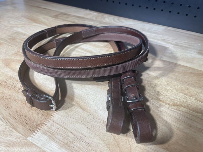 Leaders Plain Leather Rubber Lined Reins ***high Quality***