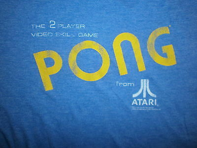 ATARI PONG T SHIRT Retro 80s Throwback Arcade Video Gamer 2600 Heather Blue MED
