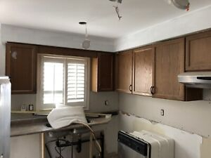Kitchen upper cabinet and ceiling FAN