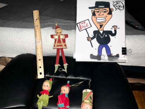 VINTAGE FELT Christmas SHELF ELF PIXIE Doll Ornaments JAPAN ++ MORE  ESTATE SALE