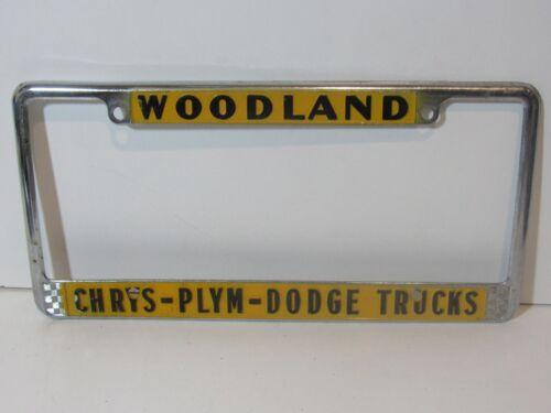 Rare Woodland Chrysler Plymouth Dodge License Plate Frame Embossed Holder Tag