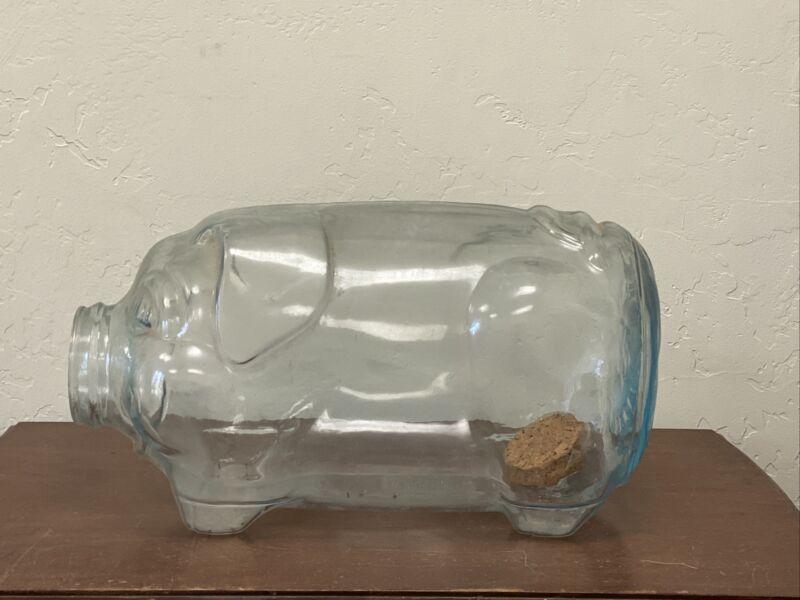 Libbey This Little Pig Went To Market 5 Gallon Glass Cute Piggy Bank Jar Blue