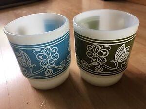 Two Anchor Hocking Milk Glass Mugs