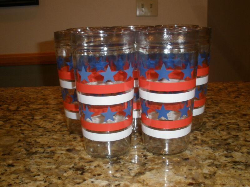 Set Of Eight (8) Vtg Anchor Hocking Stars & Stripes Red, White & Blue Tumblers