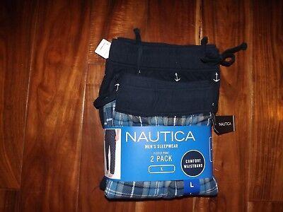 NWT Mens NAUTICA Sleepwear 2pk Navy White Plaid Anchor Flannel Pajama Pants XL