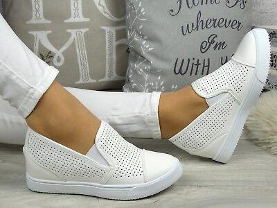 Keilabsatz Sneaker Sportschuhe Hidden Wedges SLIP ON  36 37 38 39 40 41)))Weiss# Weiße Wedge Sneakers