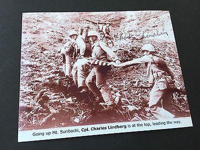 CHARLES W. LINDBERG († 2007) WWII Battle of Iwo Jima signed Foto 10x13 Rarität