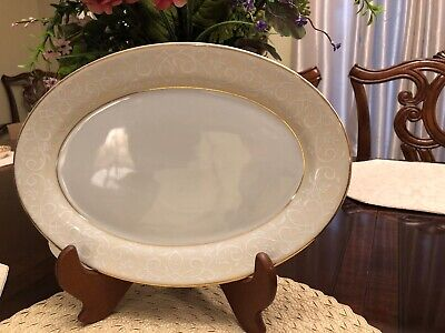 """Pearl Embossed Border (Chris Madden, Small Oval Platter, White With Pearl Ir Tan Embossed Border 12"""" )"""