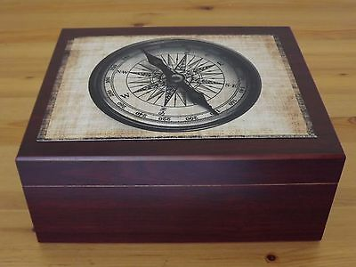 Gloss Retro Nautical Compass Spanish Cedar Cherry Desktop Humidor Hold 50 Cigar