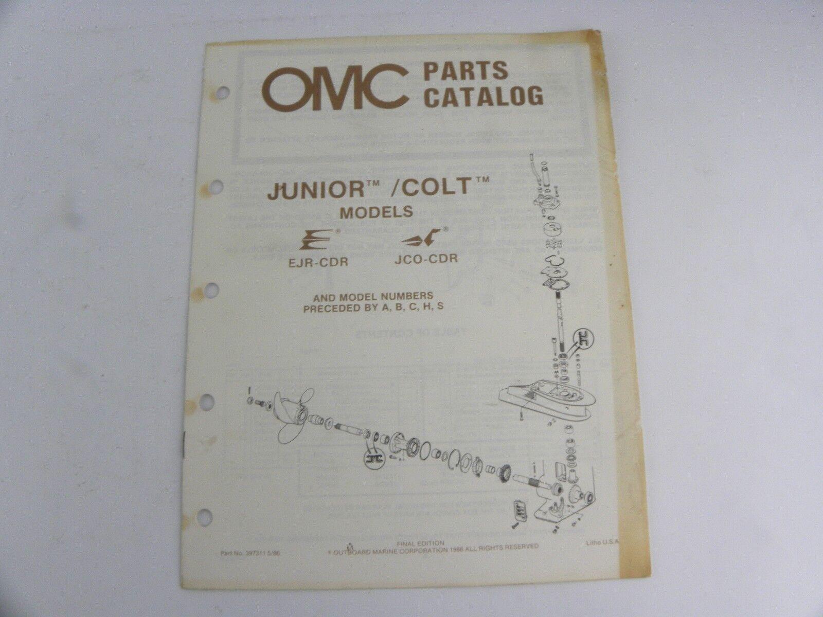 Evinrude Johnson Junior Colt Models Outboard Motor Parts Catalog Manual 1986 OMC