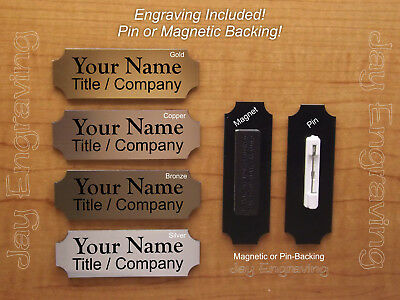 Custom Engraved 1x3 Brushed Metal Finish Name Tag Plastic Employee Id Badge