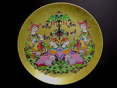 LARGE 30 CM BJORN WIINBLAD Rosenthal Gold Porcelain Wall Charger / Plaque  Plate