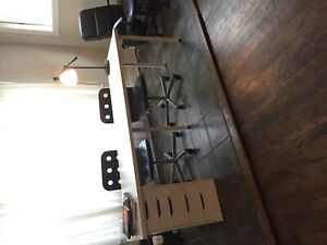 IKEA long white desk with 2 office chairs