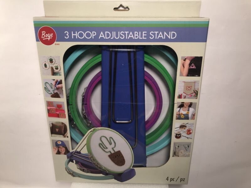 Boye Plastic Embroidery Hoops & Stand Set Of 3 With Springform Cl 070659951923