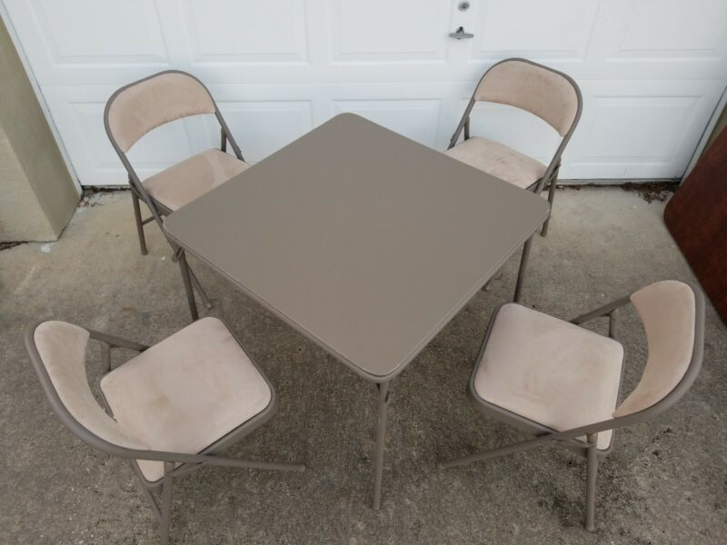 Samsonite Padded Folding Chicory Card Table & Velour Chairs Lot Of 4