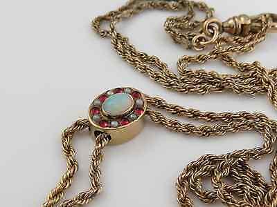 VICTORIAN GOLD FILLED OPAL RUBY SEED PEARL CHAIN WATCH FOB SLIDE NECKLACE