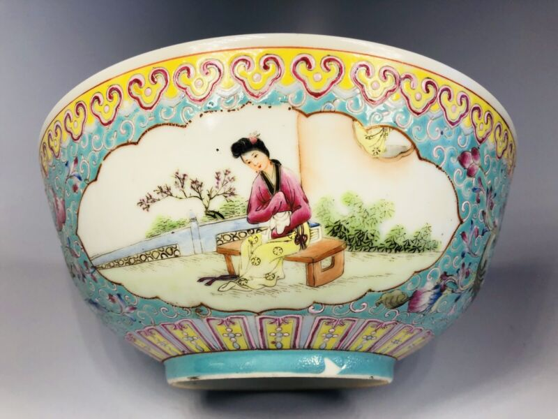"""Antique 1920s Chinese Hand-Painted Porcelain Bowl 8"""""""