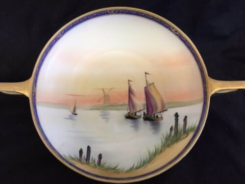 NIPPON HAND PAINTED BOWL sailboat windmill scene wow!  GILT