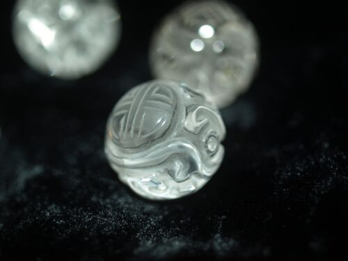 A Vintage Carved Chinese Bead Rock Crystal Shou Asian Clear Crystal Quartz 16mm