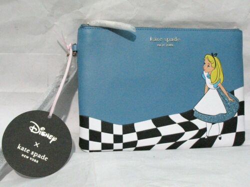Disney KATE SPADE Alice In Wonderland BLUE Wristlet Bag Pouch NEW