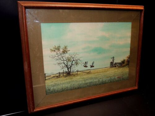 Watercolor Painting Of Nature And A Farm By Artist Mike Dantez - Framed