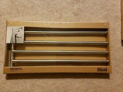 Swing Towel Rail (IKEA GRUNDTAL Stainless Steel 4 Rail Swing Arm Swivel Towel Holder Brand New )