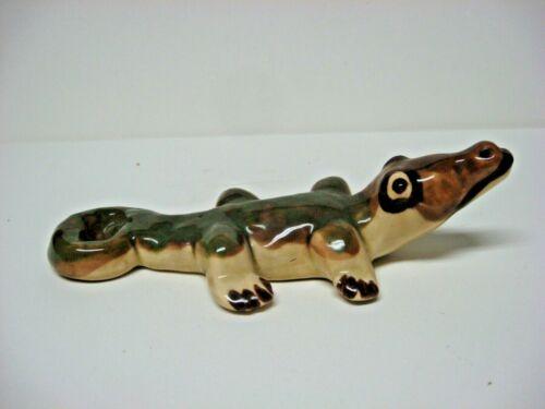 Vintage pottery alligator figurine BIG ROUND EYES