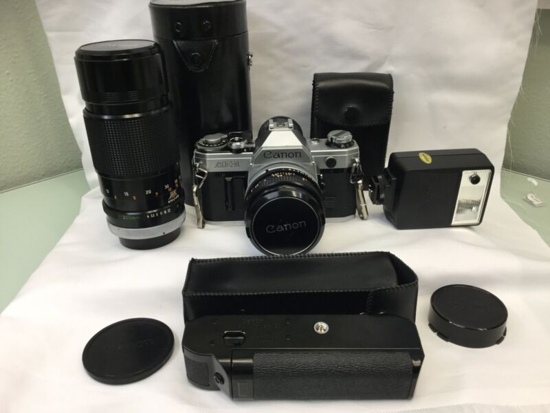 Canon AE-1 35mm Film Manual Camera w/ 50mm F1.8 Lens WHOLE KIT!!