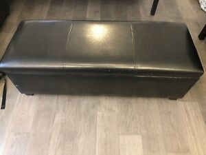 Faux Leather Espresso Bench/Ottoman