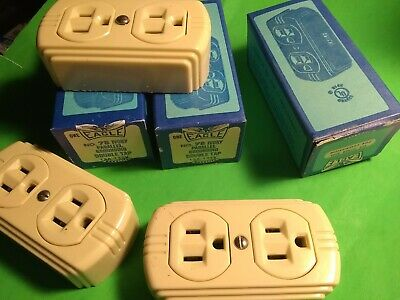 Lot Of 3 Duplex Receptacle Surface Mount 15 Amp 120vac Electrical Ivory Shop