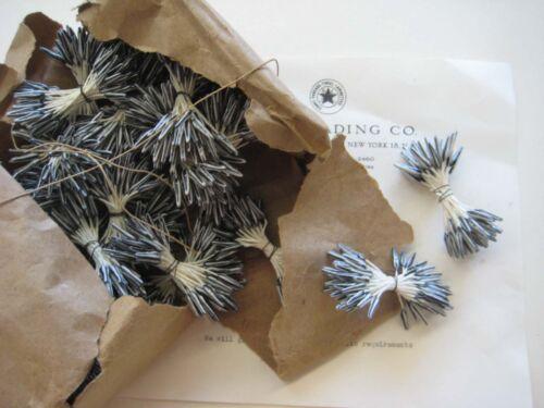 2 Bu Vintage/Antique Blackish Gr/White Stamens 36 Double Stems Hat Flower UNUSED