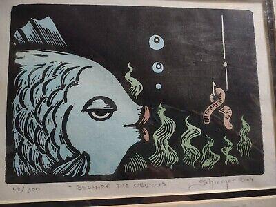Original John Schirmer Woodcut Print Beware The Obvious 68/300 Signed Matted - $48.00